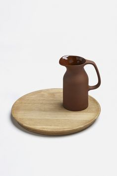 Barber and Osgerby Olio Red Jug on Wooden Trivet