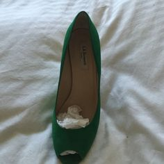 Lk Bennett wedge peep toe shoes Jade color, suede wedge shoes. Slightly used, but in excellent condition. LK Bennett Shoes Wedges