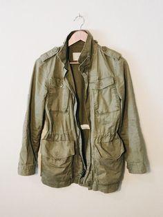 J.Crew Women's Boyfriend Fatigue Jacket, Army Green, Distressed, Size XS #JCrew #Military