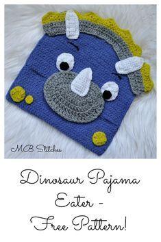 Crochet Toys For Boys Dinosaur Pajama Eater - Free Crochet Pattern! Crochet Pillow, Crochet Bear, Cute Crochet, Crochet Crafts, Crochet Dolls, Crochet Projects, Crochet Toddler, Crochet For Boys, Crochet Toys Patterns