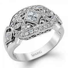 Simon G 18K White Gold Antique Design w/ Diamonds- #LP1111