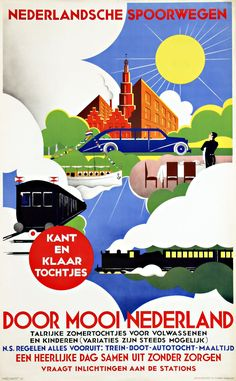 Dutch railway posters of the Vintage Advertising Posters, Old Advertisements, Vintage Travel Posters, Bus Travel, Train Travel, Japanese Horror Movies, Underground Lines, Dazzle Camouflage, Safety Posters