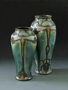 A lovely pair of Nouveau Dragonfly vases from Stephanie Young of CalmWater Designs | Arts & Crafts | Pottery