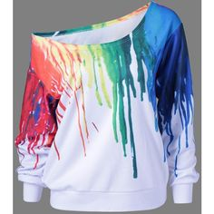 Paint Drip Skew Collar Sweatshirt (€14) ❤ liked on Polyvore featuring tops, hoodies, sweatshirts, collared sweatshirt and collar top
