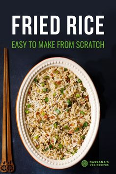 This popular Veg Fried Rice recipe is loaded with fresh mixed veggies and aromatic spices for an incredibly hearty and flavorful meal. Amazingly easy to make from scratch, it's good for you and delicious to eat! Veg Fried Rice Recipe, Vegetable Fried Rice, Veggie Stir Fry, Fried Vegetables, Veggies, Veg Recipes, Lunch Recipes, Indian Food Recipes, Dinner Recipes