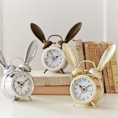 PB Teen The Emily and Meritt Bunny Alarm Clock, White at Pottery Barn Teen - Teen Bedroom Clocks Gadgets, Alice In Wonderland Bedroom, Bunny Room, Bunny Nursery, Nursery Decor, Room Decor, Themed Nursery, Emily And Meritt, Pb Teen