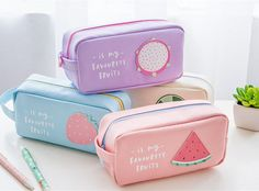 Kicute Cute Fruit Pencil Case Beautifully Travel Cosmetic Makeup Bags Pouch Office School Supplies for Students Gifts Stationary School, School Stationery, Cute Stationery, Korean Stationery, School Pencil Boxes, Cute Pencil Case, Cute Pencil Pouches, School Accessories, Back To School Supplies
