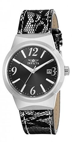 Invicta Women Angel Leather Strap Waterproof Quartz Watch 17298 Silver/Black *** You can get more details by clicking on the image.