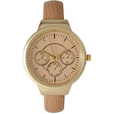 Olivia Pratt Womens Decorative Chronograph Beige Petite Leather Cuff... ($35) ❤ liked on Polyvore featuring jewelry, watches, chronograph watches, leather chronograph watch, cuff watches, wrist cuff watch and dial watches