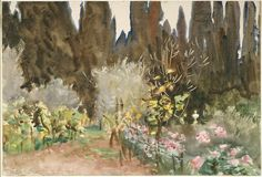 John Singer Sargent American (Florence, Italy 1856 - 1925 London, England) Gardens at Florence, 1910 Drawing American, 20th century Watercol...