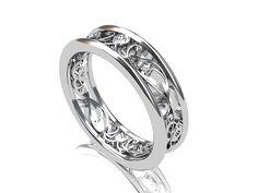 Diamond ring,  White gold wedding band, filigree ring, lace,  Diamond wedding band, vintage style, unique, wedding ring via Etsy