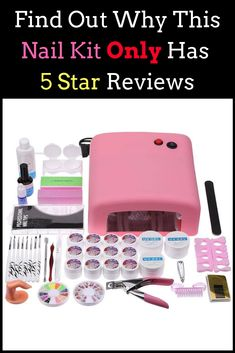 50b9af4a38 Nail Art Tool Knit Beginner White UV Phototherapy 36W Gel Crystal Nail Set