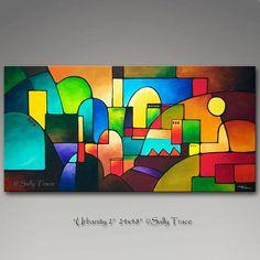 « Urbanité 2 », original moderne abstrait géométrique urbain. 24 x 48, 1,5 pouces de profondeur. Bruns terreux et oranges mis en évidence avec Sarcelles, rouges et ocres. Acrylique sur toile, les côtés seront peints noires. Votre peinture va être verni, câblé et prêt à accrocher.