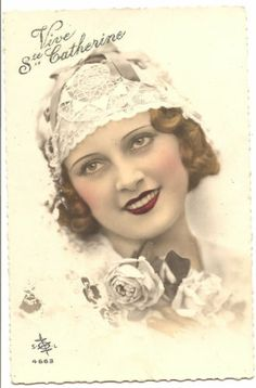 1920'S French Pretty Flapper IN Lace Bonnet Tinted Deco Photo Postcard | eBay