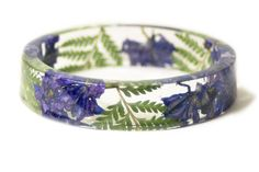 Purple Larkspur and Green Fern Bracelet - Modern Flower Child