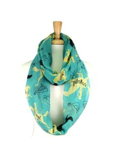 Turquoise and Multi Cute CowGirl Infinity Scarf