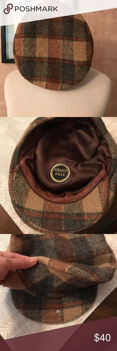"""Grand Prix Vintage Cap Wool plaid cap.  """"Kangaroo"""" style with snap.  No size listed but S/M.  Vintage. Grand Prix Accessories Hats"""