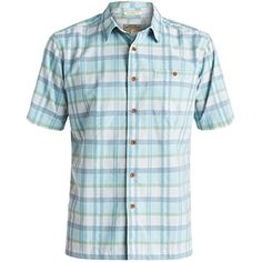 Quiksilver Mens Idle Time Button Up Short-Sleeve Shirt Large Plein Air. 55% Cotton, 45% Viscose. Short sleeve premium cotton rayon slub shirt. Woven logo label at interior front placket. Plaid with jaqward accents. Garment wash. Quiksilver Idle Time Button Up Short-Sleeve Shirt for Men. Summer 2016 Collection.