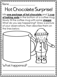 Science Experiment: States of Matter Chemical Reactions from Kelly Wilson on TeachersNotebook.com -  (1 page)  - FREE Science Experiment: States of Matter (hot chocolate, vinegar, baking soda)  This little experiment is a fun twist on the traditional vinegar + baking soda experiment. Mix a packet of hot chocolat