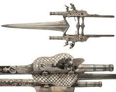 19th century Indian 'Katar' anti-armor dagger w- dual flintlock pistols (x-post r-Knifeporn) [1800x1445]