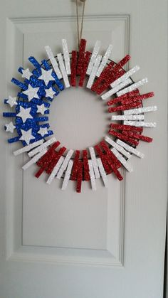 Patriotic Clothes Pin Wreath by Homemademiracle on Etsy