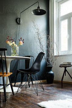 Dark art deco interior by Aleksandar Novoselski - Stocksy United Decor Interior Design, Interior Decorating, Dark Art, Old And New, Dining Chairs, Art Deco, The Unit, Black And White, Furniture