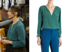 Parks and Rec season 5: Ann's (Rashida Jones) Green Polka Dot Blouse by Joie #getthelook #parksandrec