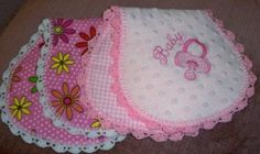 How to Make Burp Cloths From Flannel | Handmade pink minkee and flannel baby burp cloths with crochet ...