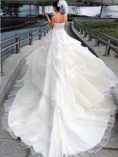 beautiful wedding dress with long train