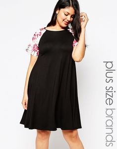 8f99d83f1be2 Club L Plus Swing Dress with Floral PU Sleeves