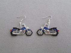 Blue Motorcycle Earrings in delica seed by DsBeadedCrochetedEtc