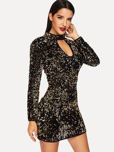 0e9c57c84a Keyhole Sequin Bodycon Dress -SHEIN(SHEINSIDE) Gold Sequin Dress, Sequin  Party Dress
