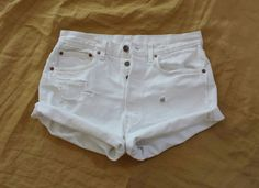 High Waisted Denim Shorts  LEVI 501   White by TomieHarleneVintage, $21.99   #highwaisted #highwaist #highwaisteddenimshorts #highrise #denimshorts #distressedshorts #boyfriendjeans #boyfriendshorts #vintagedenim #whitejeanshorts #buttonfly