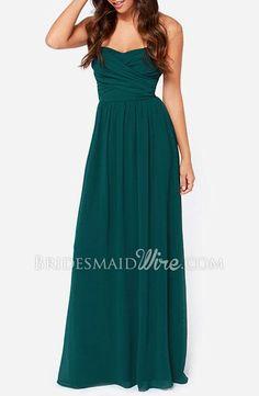 #green strapless #sweetheart long #chiffon #bridesmaiddress