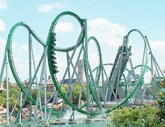 Rollercoasters! This is The Hulk at Universal's Islands of Adventure. One of the funnest we've ever been on! It was part of our honeymoon!