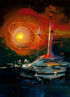 john berkey - spaceship launch (by myriac)