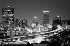 Boston City Skyline Zakim Bridge Tobin Bridge City Lights Boston Strong…