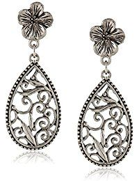 Silver-Tone Floral Filigree Teardrop Earrings ** Check this awesome product by going to the link at the image.