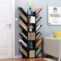 HUO, Bookshelf Floor Tree-Shaped Children's Small Bookcase Province Space Assembly Table Economical Rack Bookcases (Color : Black and White, Size : Bookcase Organization, Bookshelf Storage, Bookshelf Design, Kids Storage, Storage Spaces, Bedroom Bookcase, Tree Bookshelf, Small Bookcase, Bookcases