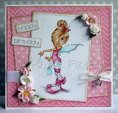 Pink, girly, fairy card featuring Tilly by Saturated Canary