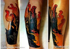Hellboy  Comic style piece on a leg