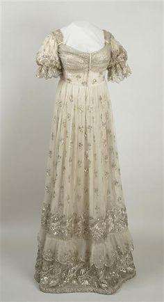 Court dress (image 1)   after 1810   gauze, lame   Musée national des châteaux de Malmaison et de Bois - Préau   Inventory #: MM.40.47.3129   Belonged to Empress Josephine