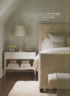 Beautiful Chic Bedroom...Love the upholstered bed & bedding, nightstand, upholstered bench, wood flooring & textured off white rug, etc......   High Street Market: Shades of Gray