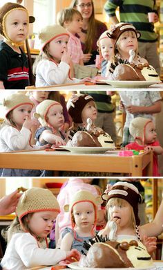 Monkey Party - Monkey knit hats as party favors. This could be a FABULOUS idea for next birthday party :-)