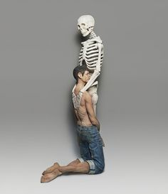 Unusual Sculptures of People and Skeletons Chiseled from Wood by Yoshitoshi Kanemakiby