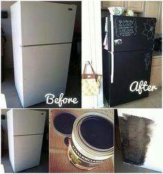 DIY Chalkboard painting on your fridge..  instructions --->http://www.goodshomedesign.com/diy-chalkboard-painting-on-your-fridge/