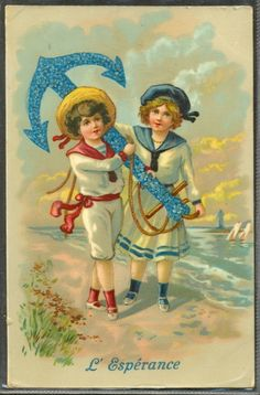 JD127 Hope Couple of Children Sailor Suits Anchor Forget Me Not | eBay