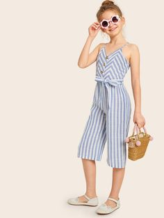 Girls Button Front Self Belted Striped Culotte Jumpsuit – Kidenhouse Tween Fashion, Baby Girl Fashion, Fashion Outfits, Moda Junior, Jumpsuits For Girls, Floral Jumpsuit, Toddler Outfits, Kids Outfits Girls, Baby Dress