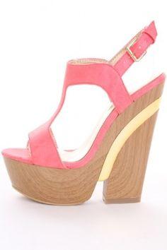 Coral Faux Leather T Strap Mirror Trim Wooden Platform Heels