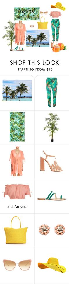"""""""Tropical Peach"""" by luuluudr ❤ liked on Polyvore featuring Dorothy Perkins, Outdoor Oasis, Nearly Natural, Echo, Rochas, Pilot, Giuseppe Zanotti, Oxford and Dita"""